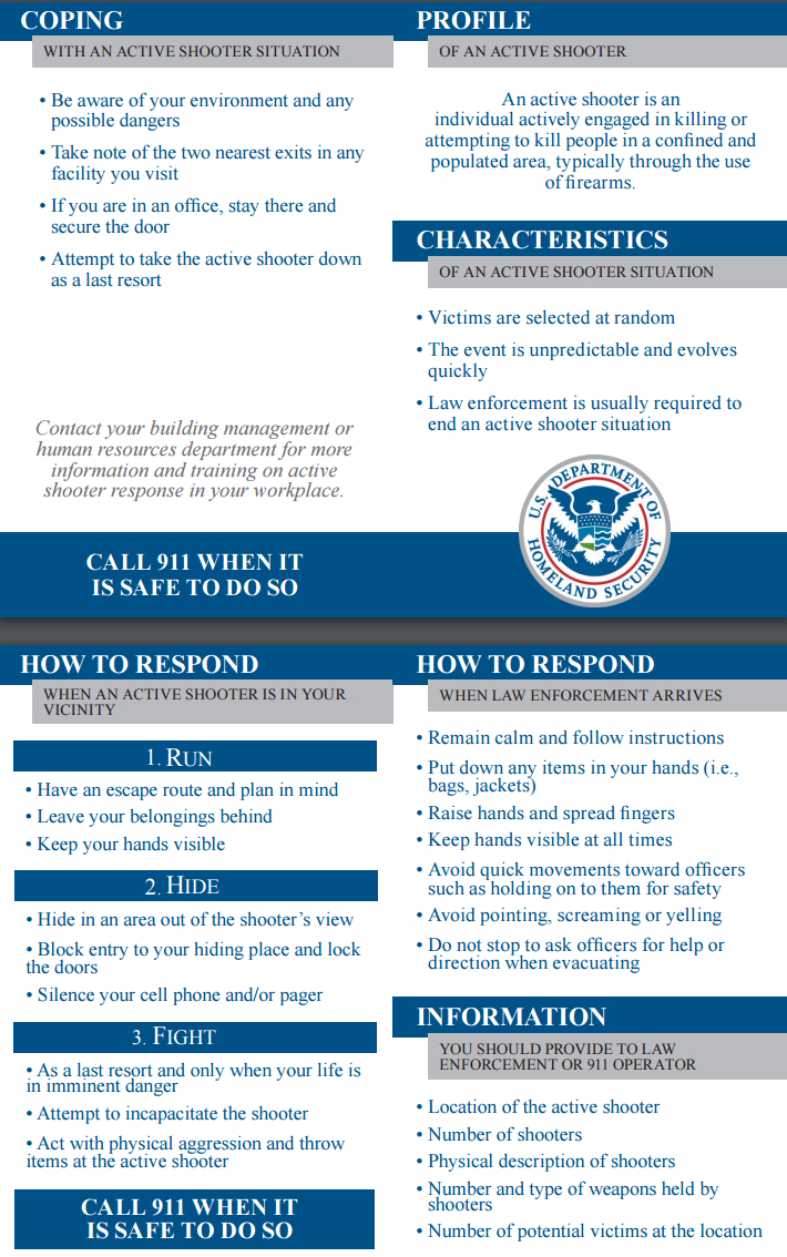 DHS Active Shooter Pocket Card