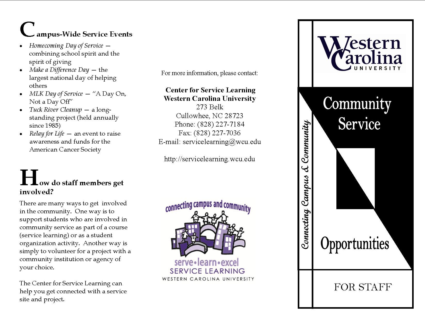 western carolina university servicelearning forms