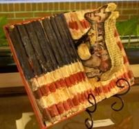 American flag book sculpture