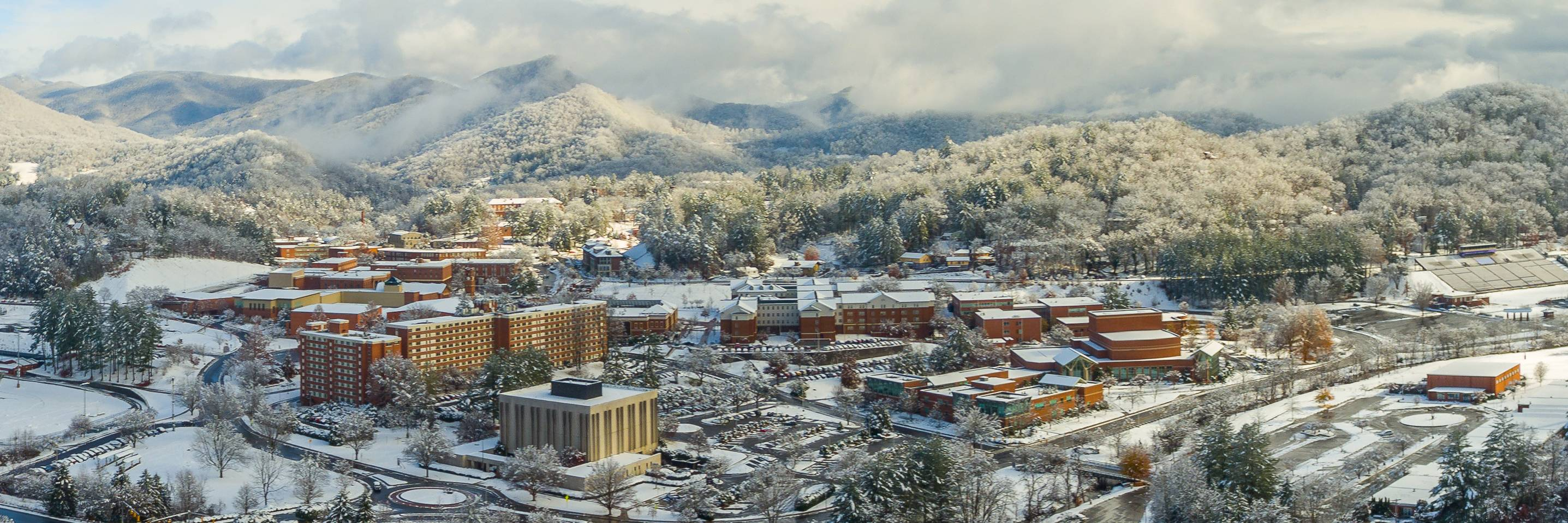Aerial shot of WCU's Cullowhee campus in winter.