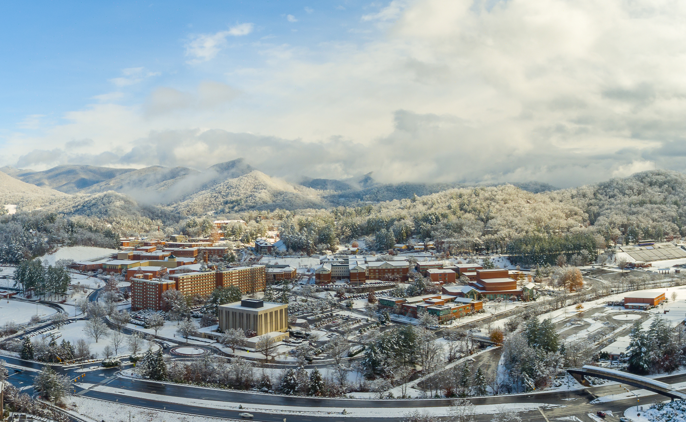 Winter Aerial Shot of Campus