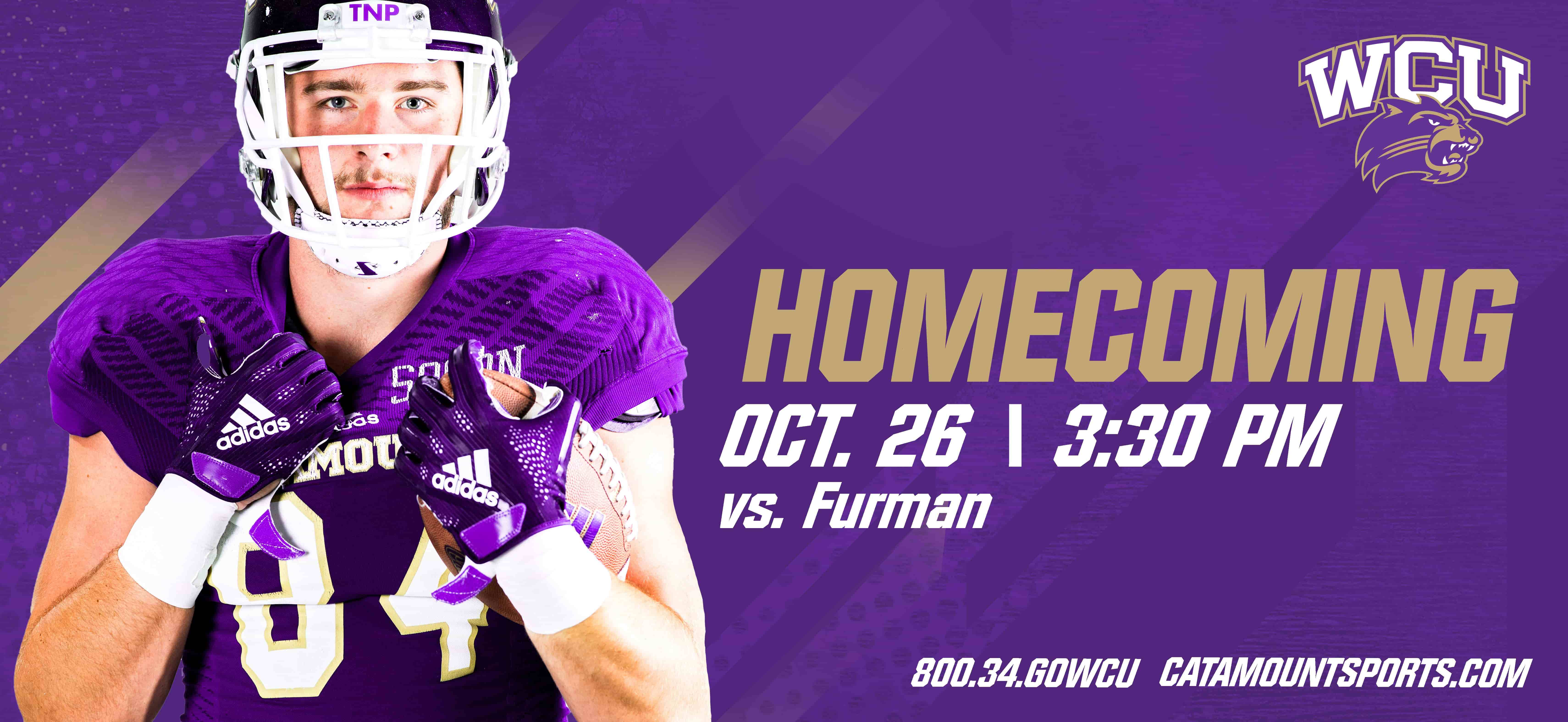 Homecoming Promotion picture, with a catamount player facing the camera in front of a pruple back groung, TEXT: OCT 26 / 3:30pm VS FURMAN