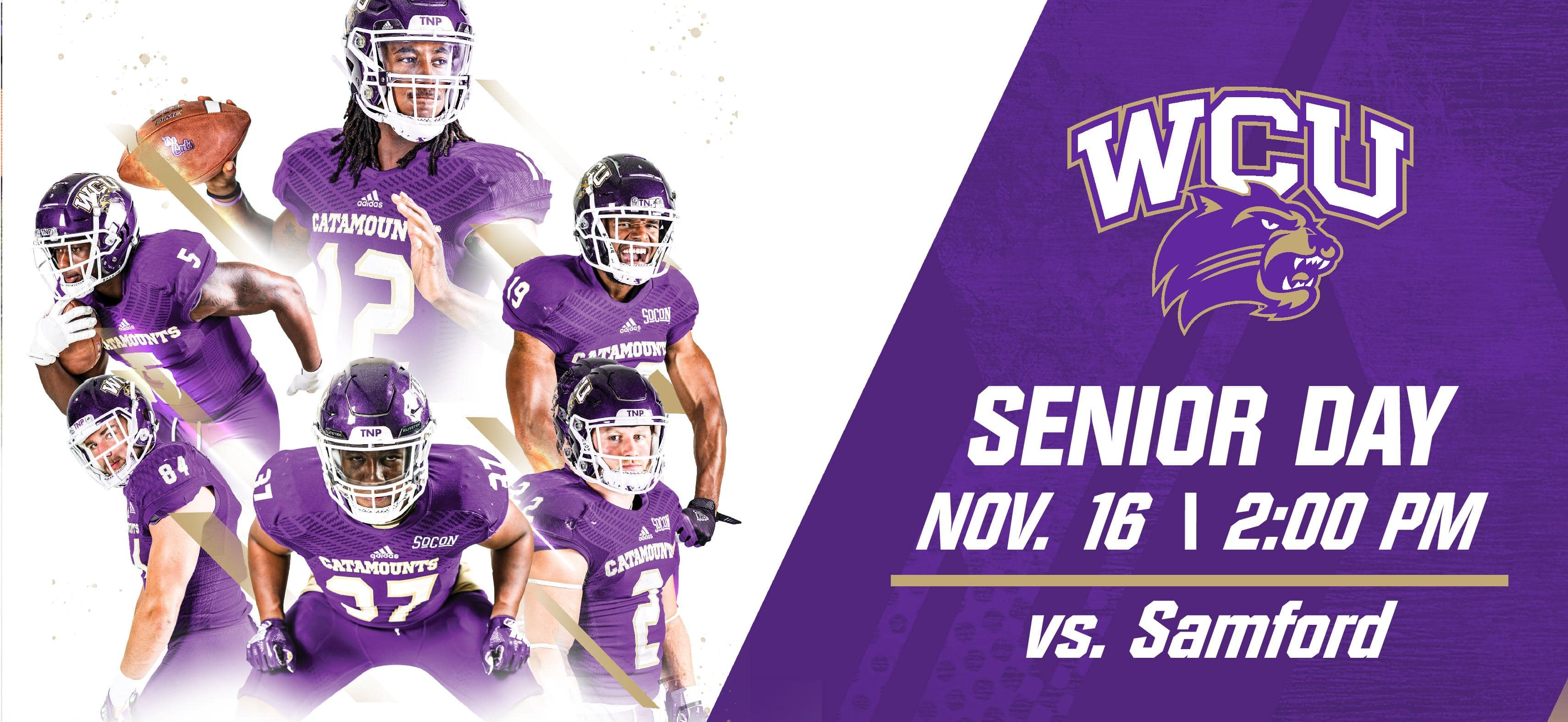 Graphic with 5 catamount players standing on the cover with text saying: Senior Day vs Sanford: Kickoff @ 2pm