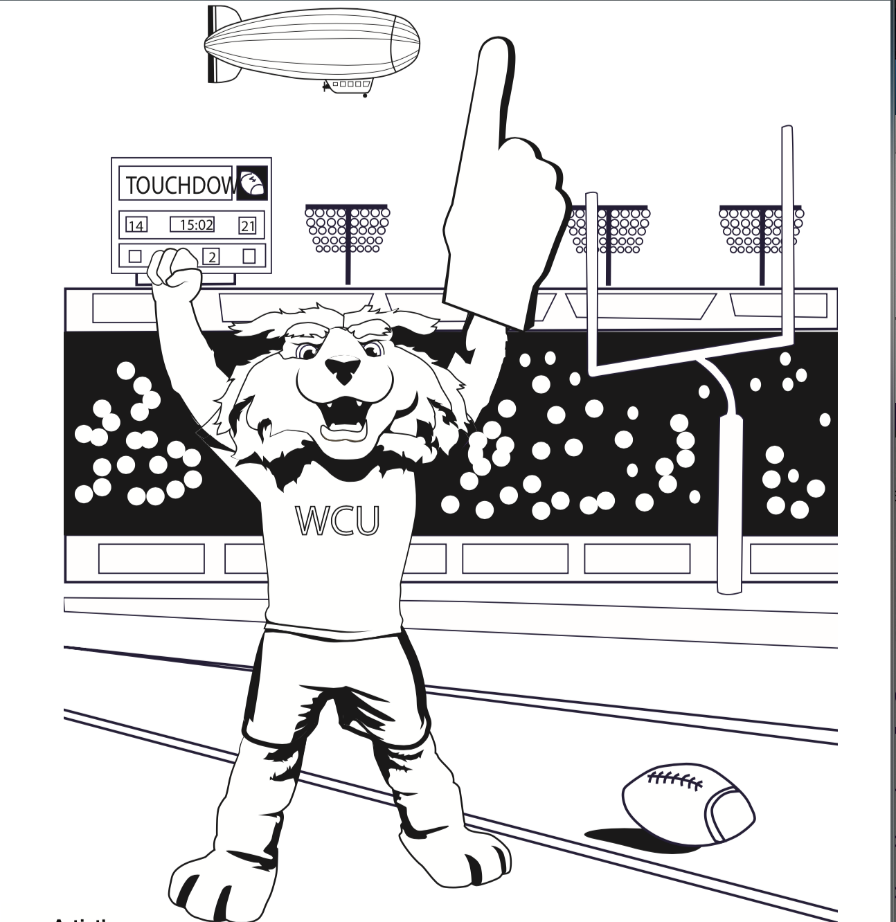 Image of a coloring book page of football paws