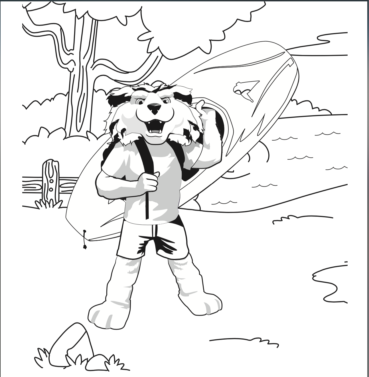 Image of a coloring book page of outdoor paws
