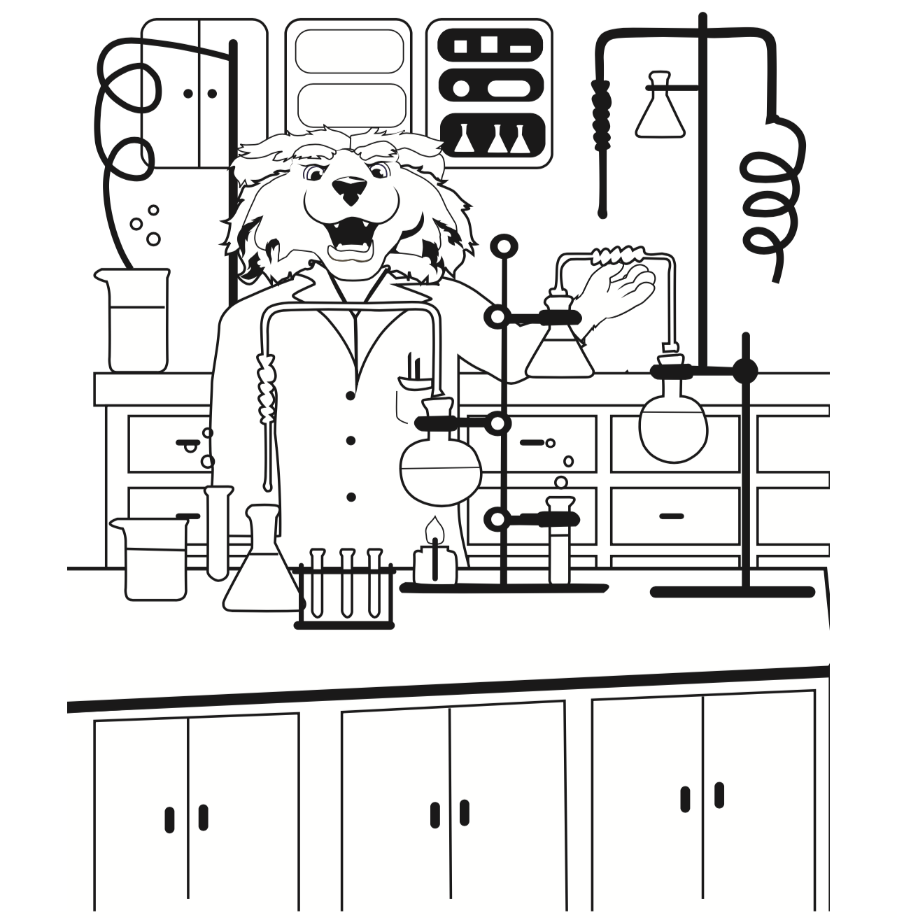Image of a coloring book page of science paws