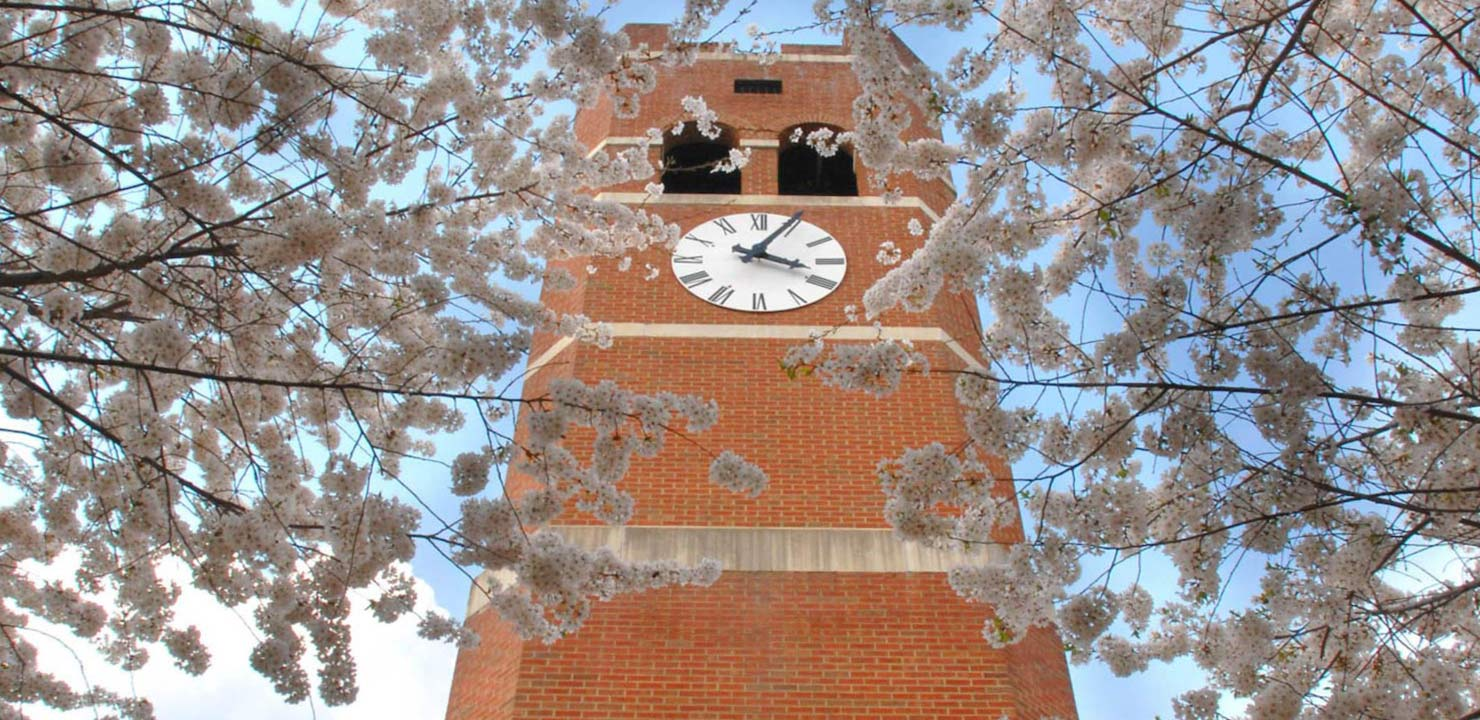 Alumni Tower with blooms