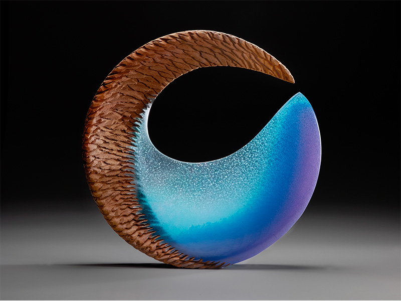 Alex Bernstein, Aqua Fin, cast and cut glass, fused steel, 21 x 21 x 2.75 inches, Image courtesy of the Artist