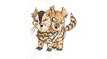 Julie Armbruster and R. Brooke Priddy-Conrad, Two-Faced Kitten, 2010, graphite, ink, and watercolor on paper mounted to wood panel, 8 x 8 x 1 inches, Gift of the Ray Griffin/Thom Robinson Collection