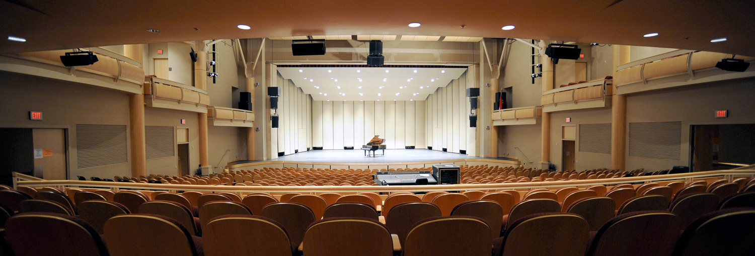 Performance Hall in Bardo Arts Center with piano on the stage