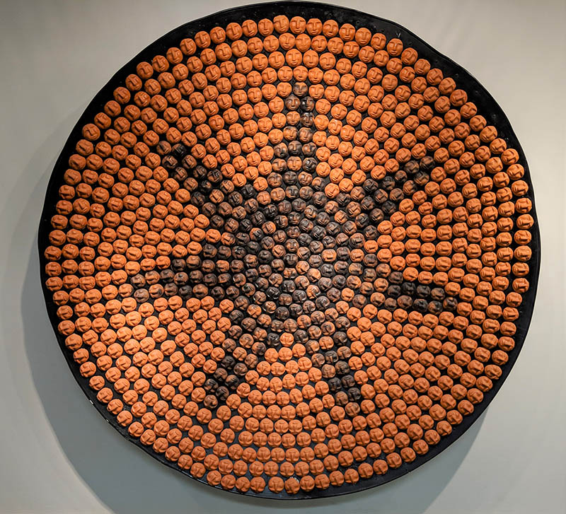 Digali'i Native American Student Organization in collaboration with Joel Queen, We only want to be seen as human, 2009, pottery and recycled satellite dish, 75 inches diameter, Gift of the Digali'i Native American Student Organization