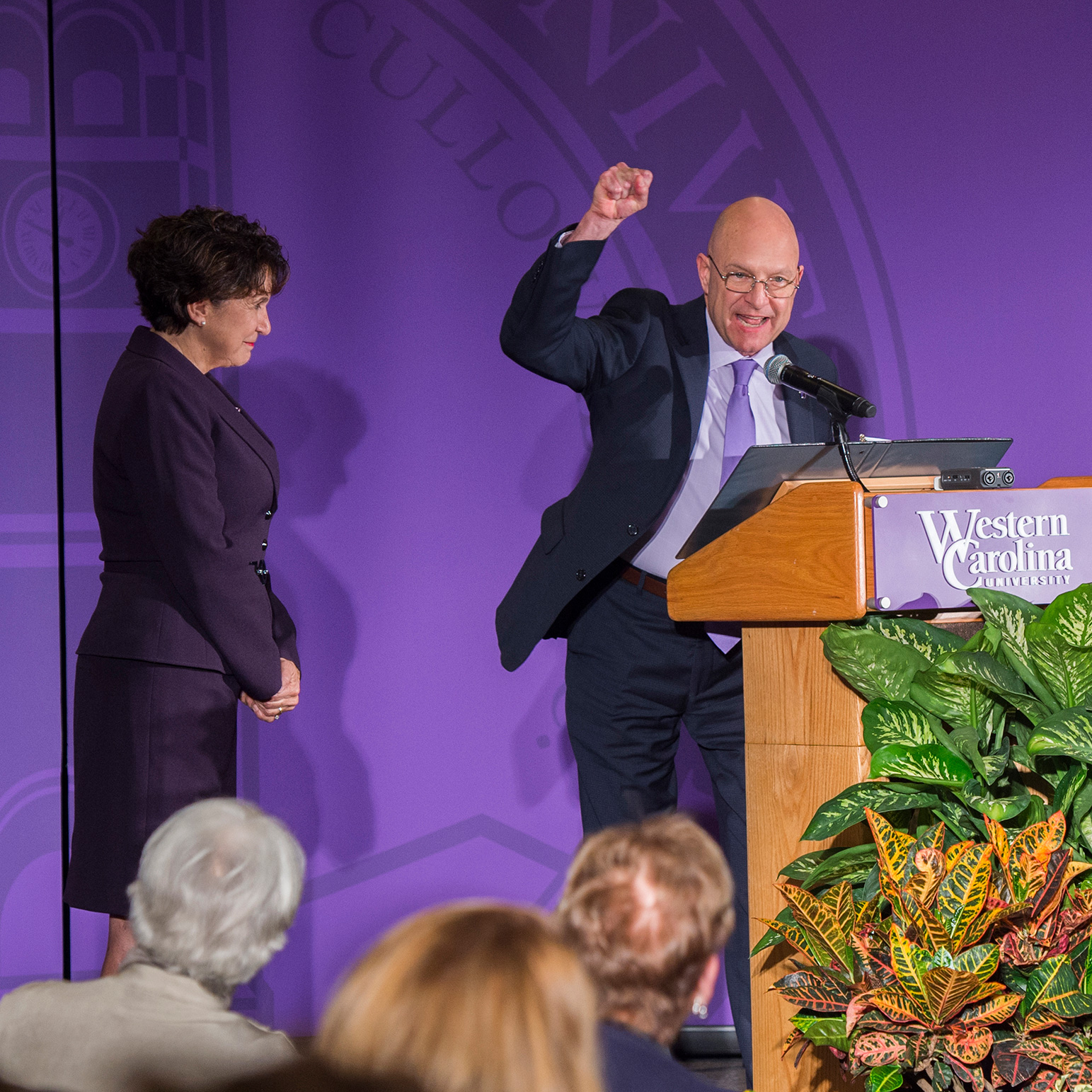 David and Susan Belcher announcing donation to WCU