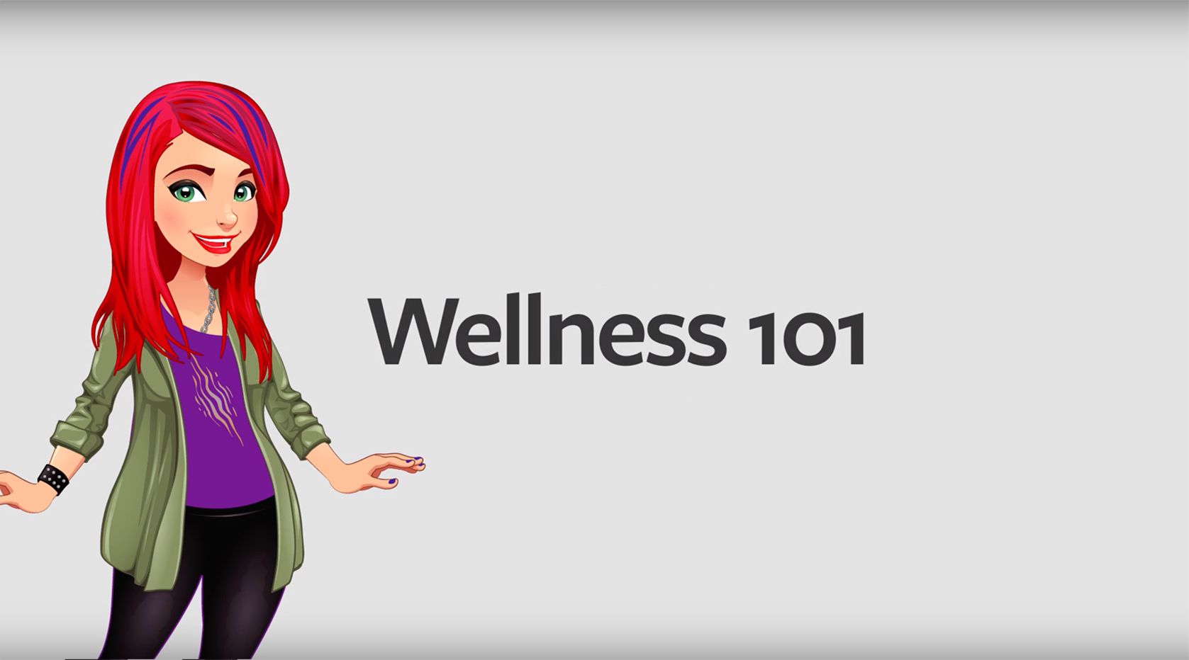 Wellness 101 with a graphic of a diverse student