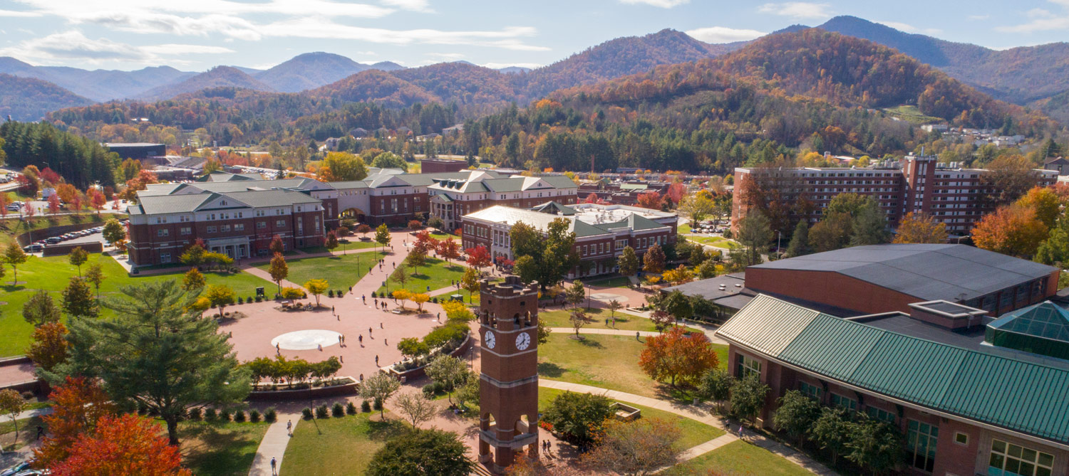 Aerial of WCU's Cullowhee Campus in Fall