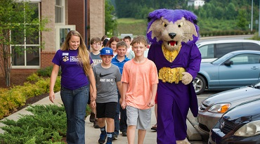 Paws walking with students