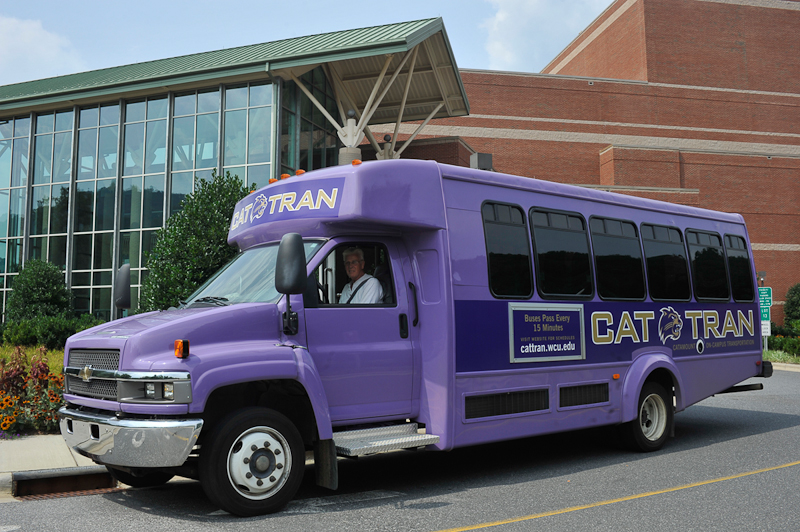 Purple CAT-TRAN bus on campus
