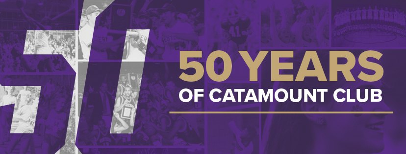 "A graphic with the number 50 and ""Celebrating 50 Years"" for the Catamount Club's anniversary"