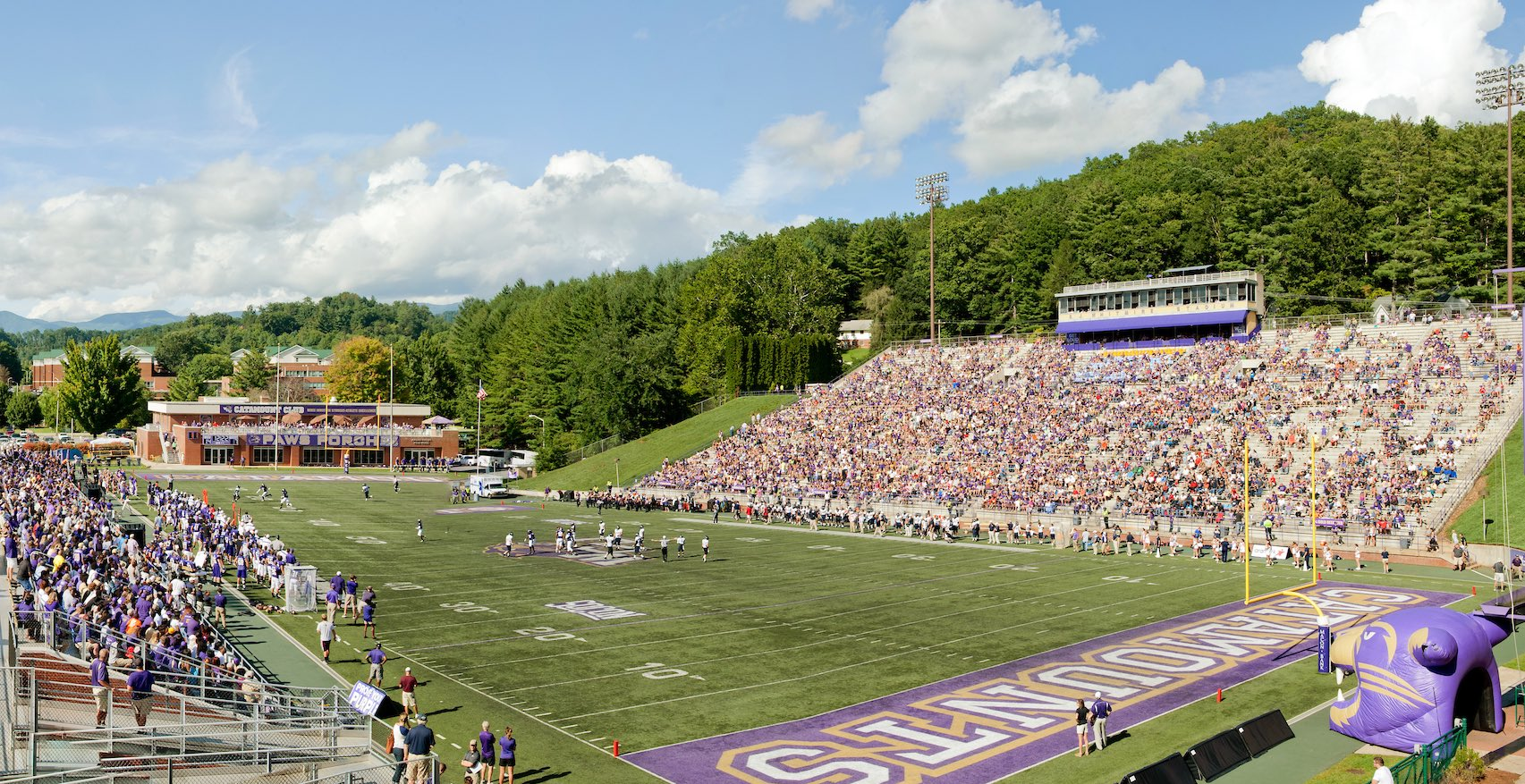 Photo of WCU's football stadium and field on game day