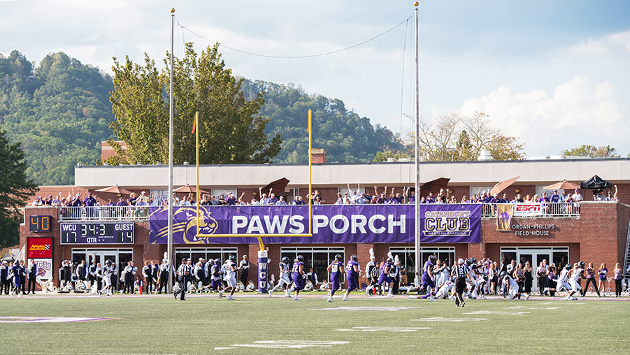 Paws Porch balcony at football stadium