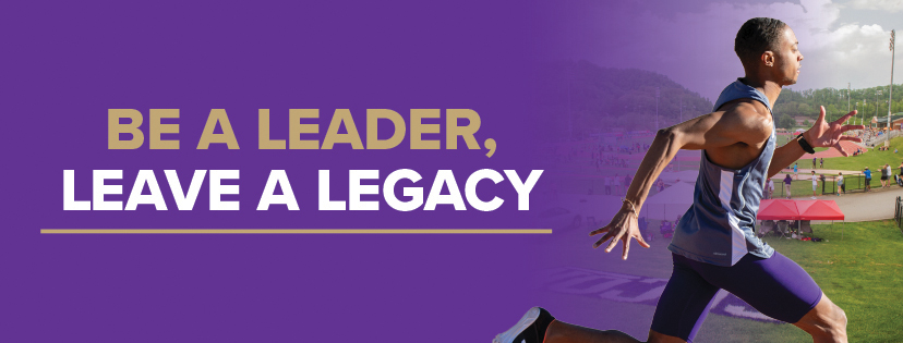 """Be A Leader""Graphic with track athlete running"
