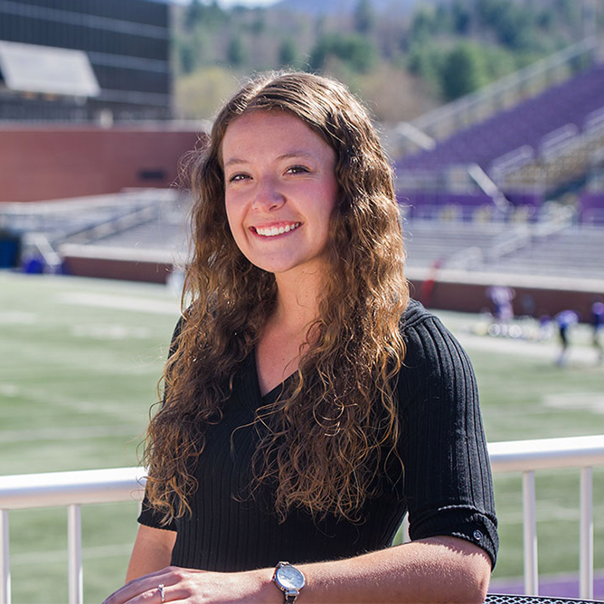 Scholarship recipient Erin West in the WCU Football Stadium.