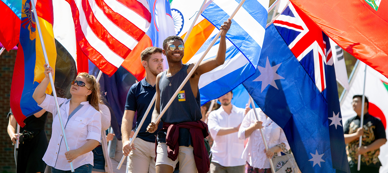 Student with international flags
