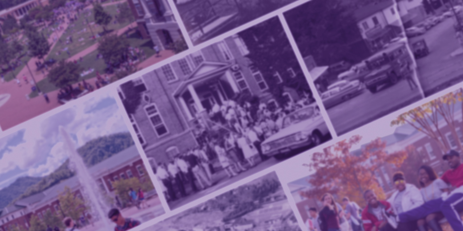 Color and black and white photos of WCU campus