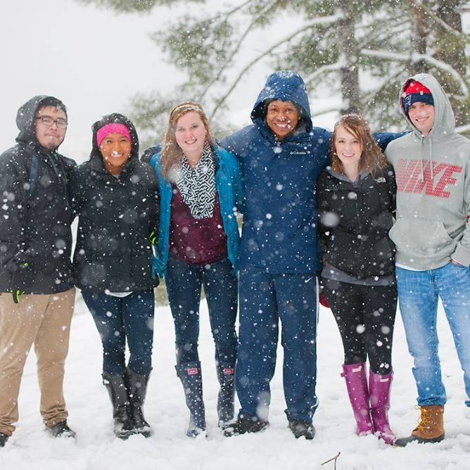 WCU Students enjoying the snow filled scenery in Cullowhee