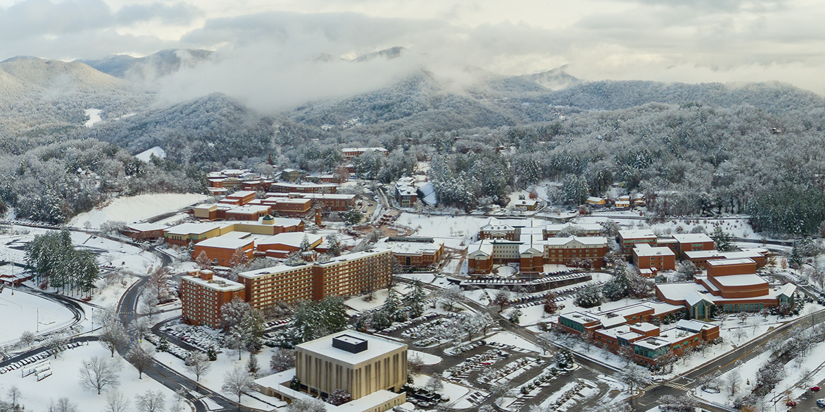 Aerial image of campus in the snow
