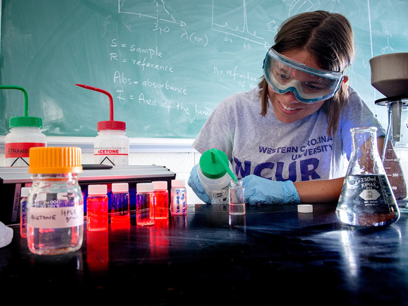 Accomplisment beyond expectation among high-achieving students. Honors college student studying Chemistry.