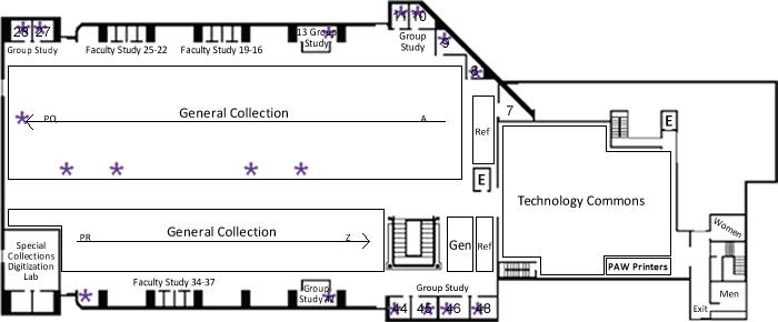 Hunter Library Ground Floor Ethernet Port Map