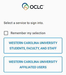picture of login options for interlibrary loan account
