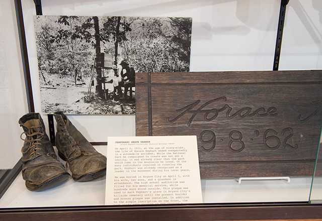 Outdoor Author Kephart's boots on exhibit