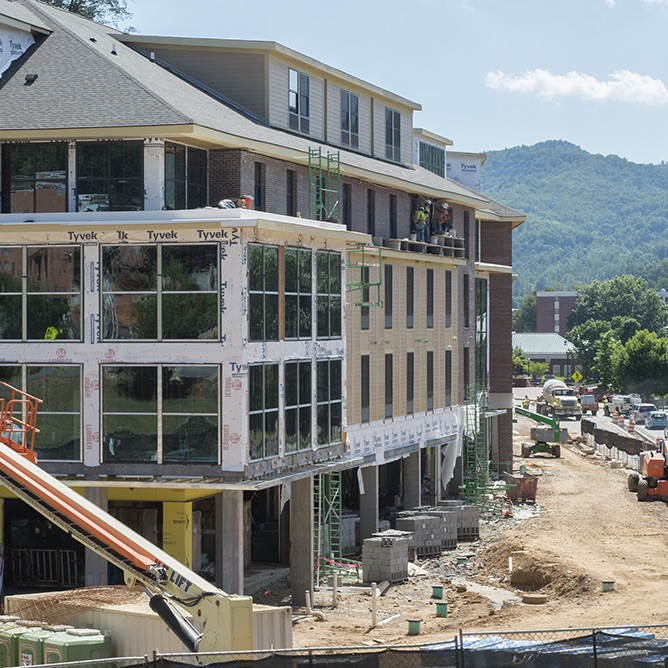 Construction continues on WCU's new mixed-use facility Noble Hall
