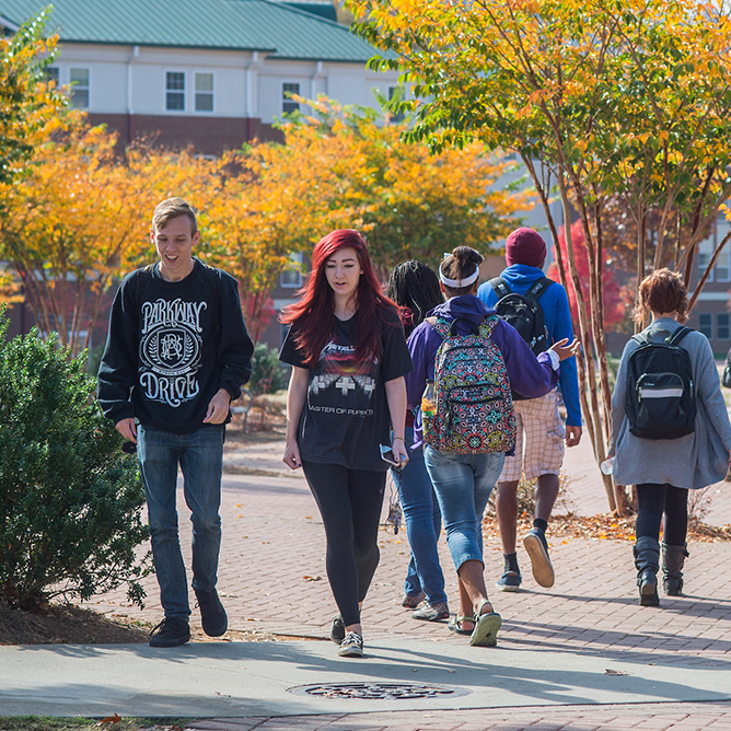 View of students walking on campus