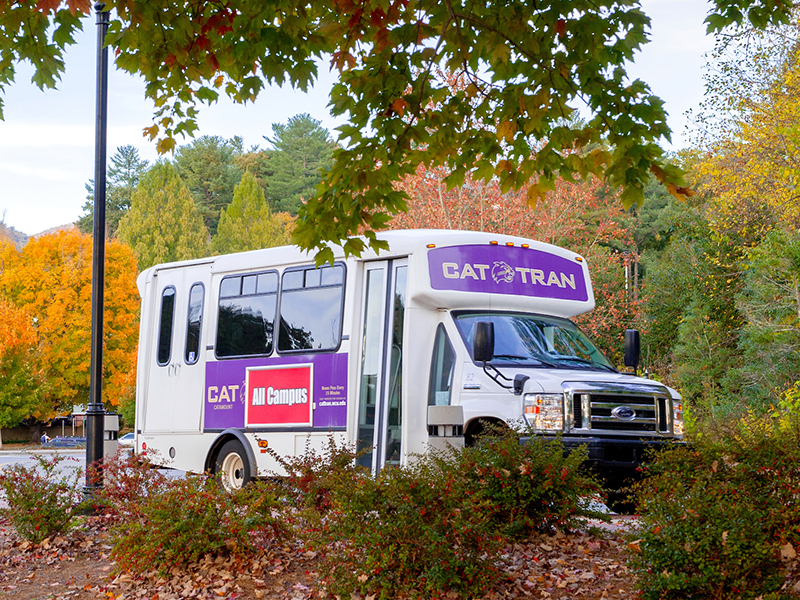 A Cat-Tran bus on campus.