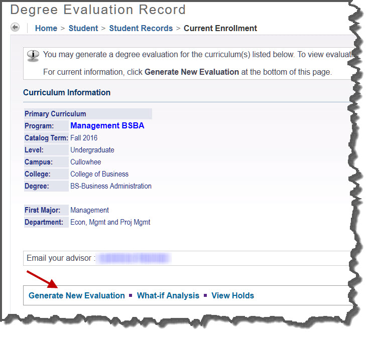 Degree Evaluation Record