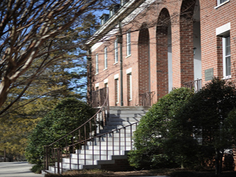 The staircase and porch of Madison Hall