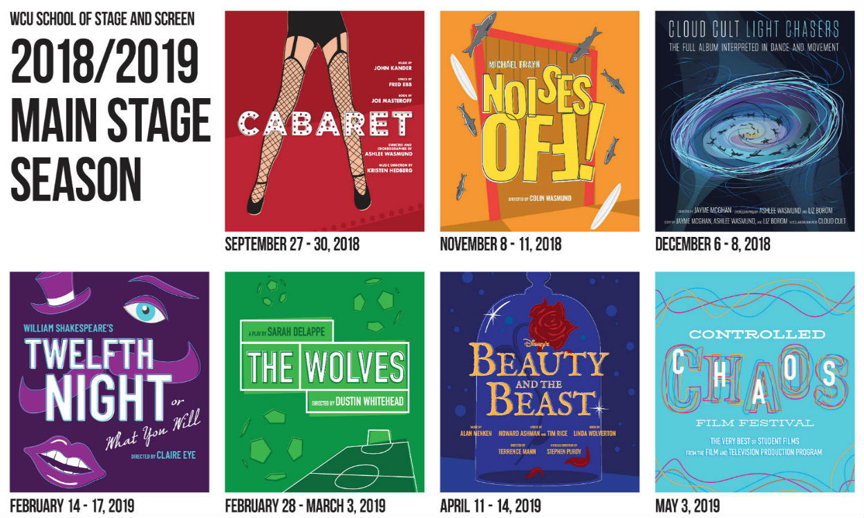 Posters for the 2018-2019 Stage and Screen Productions