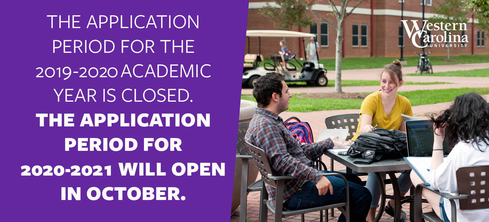 The application period for the 2019-2020 academic year is closed. The application period for 2020-2021 will open in october.