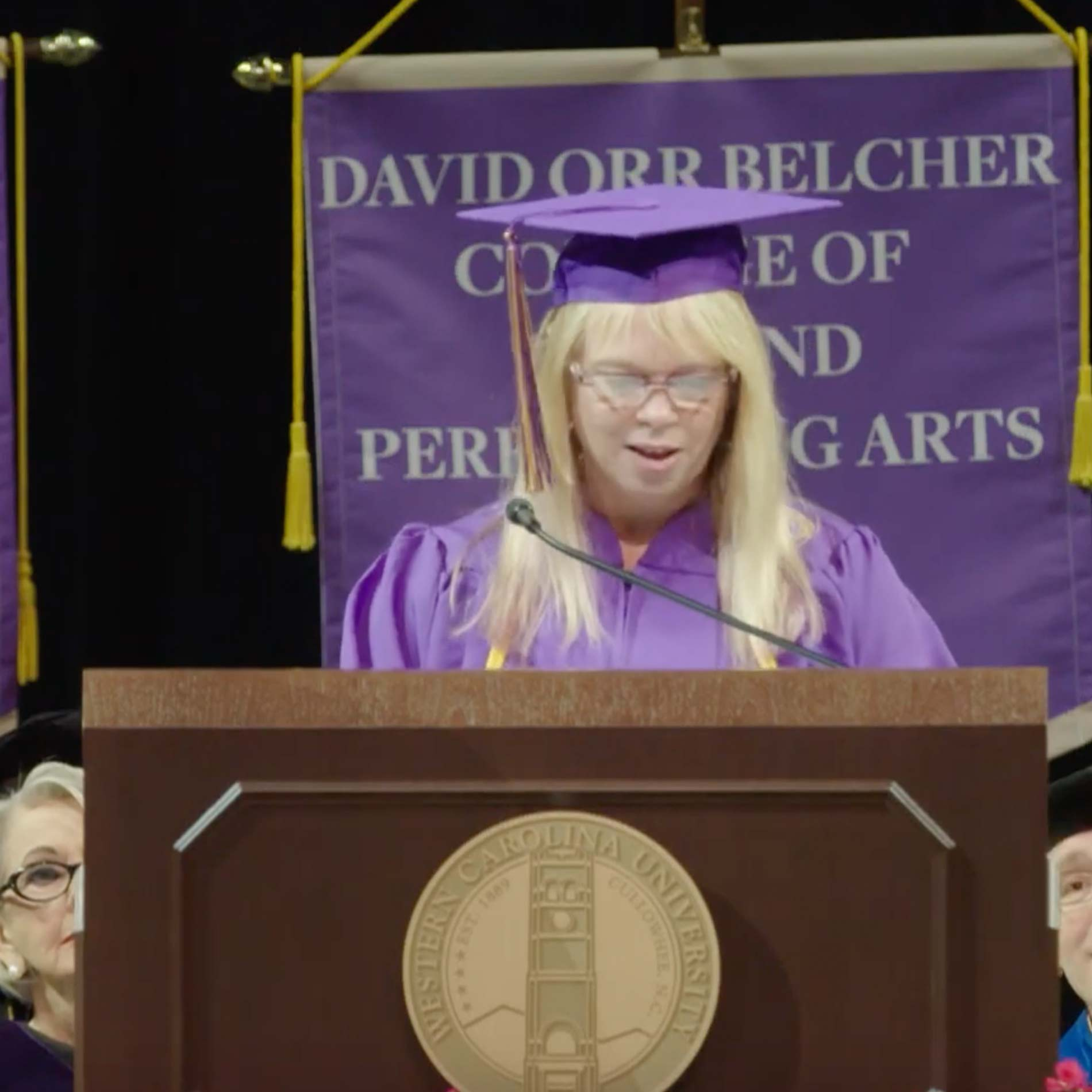 Mary Hill Lewis speaking at Commencement