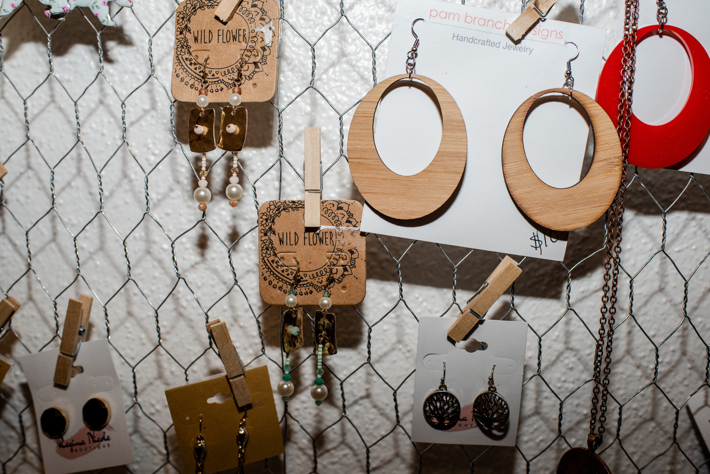 Photograph of earings from Natalie Newmans store