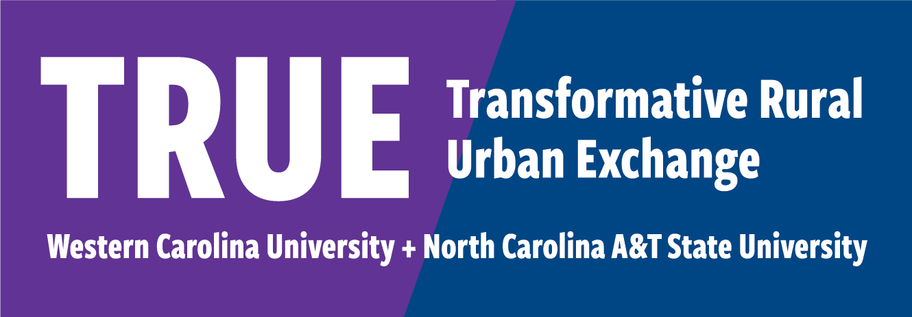 "Image of a logo ""TRUE: Transformational Rural Urban Exchange"" between Western Carolina University and North Carolina A&T State University"