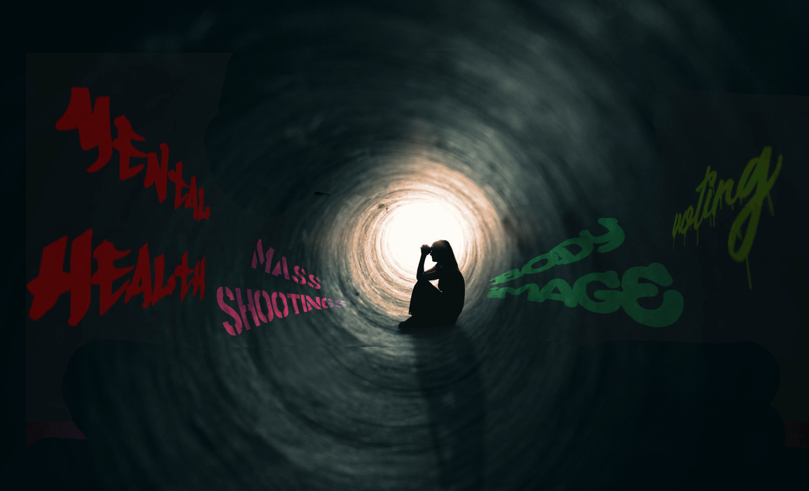 Picture of a woman sitting in a tunnel with grafitti on the wals that say voting, massshooting, body image, mental health