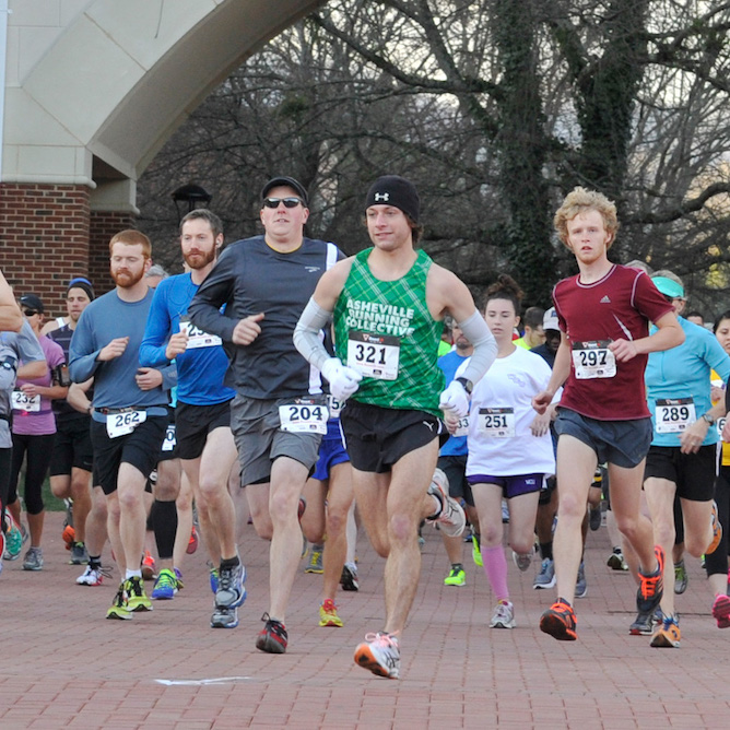 Runners enjoy an organized event on the WCU campus.