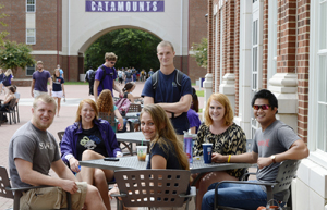 Students congregate at Dining Services near Balsam