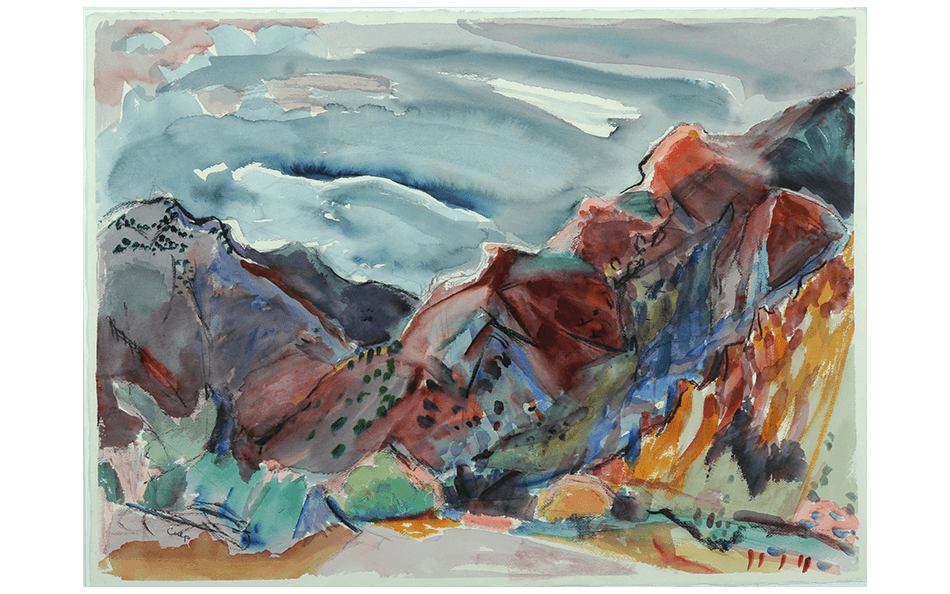 Above: Jane Culp, Narrow Earth Trail, watercolor and pencil on paper, 1993, 22 x 30 inches, Gift of the Artist