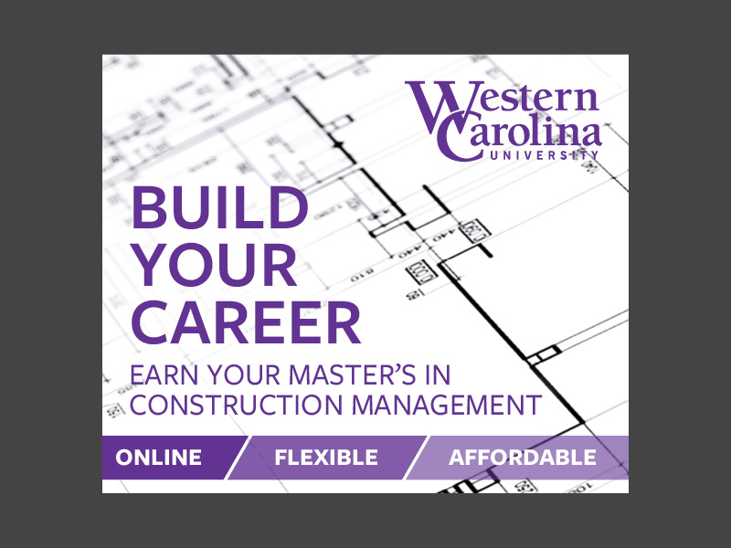 Construction management ad with a purple call-out element
