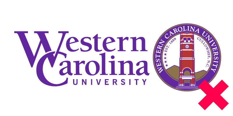logo violation - WCU logo with the Chancellors Seal