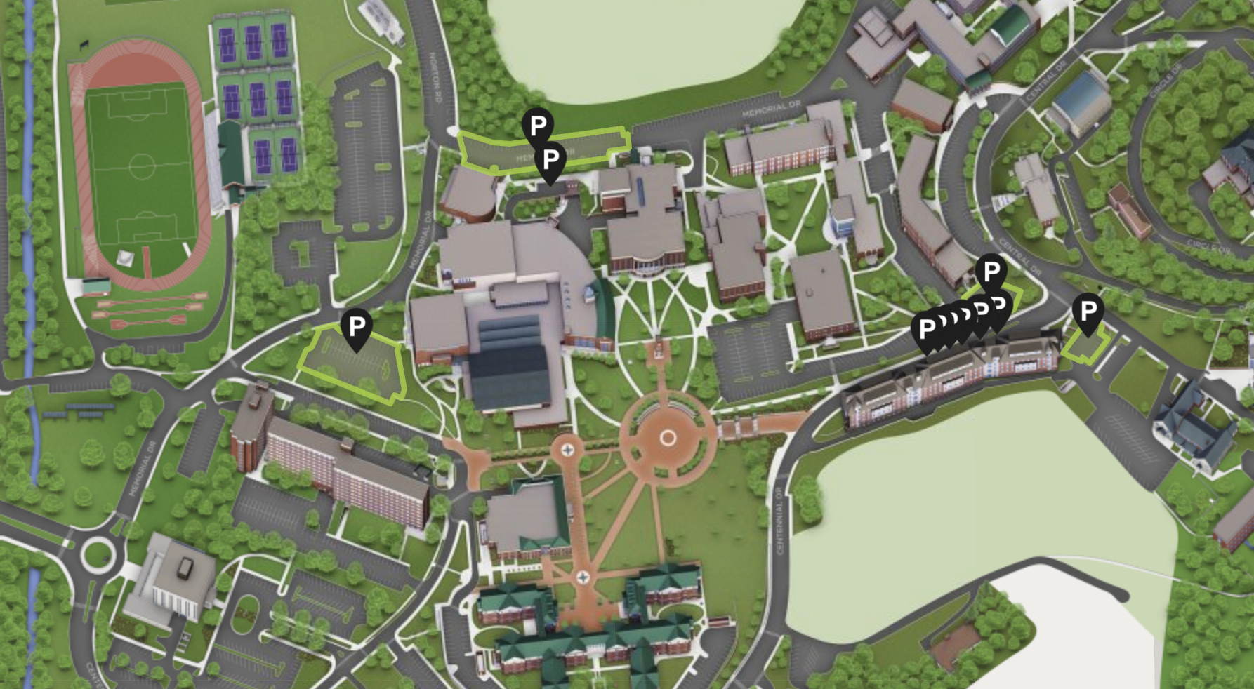 A rendering of the campus map online
